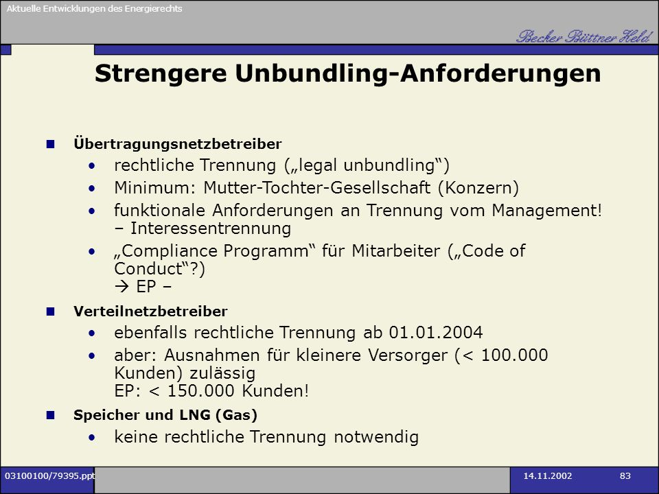 Strengere Unbundling-Anforderungen