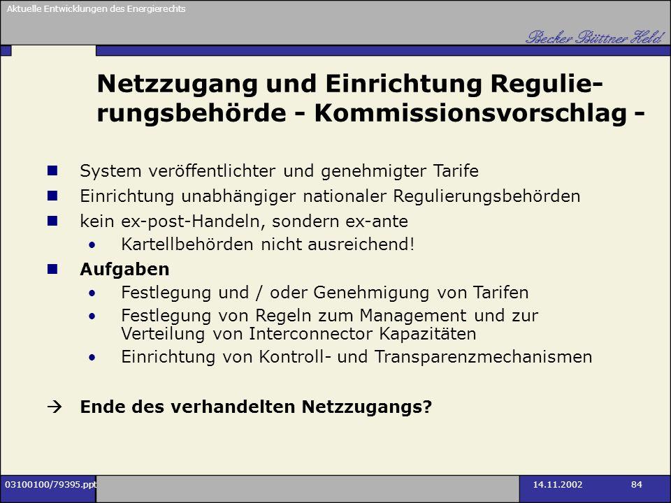 Netzzugang und Einrichtung Regulie-rungsbehörde - Kommissionsvorschlag -