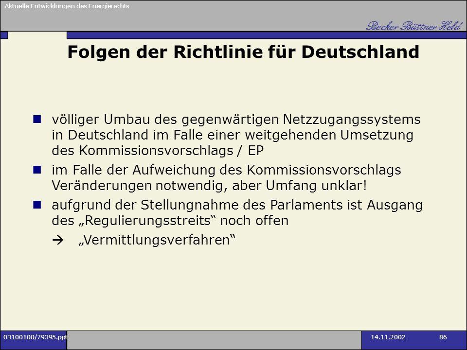 Folgen der Richtlinie für Deutschland