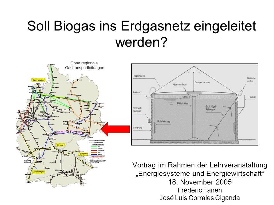 Soll Biogas ins Erdgasnetz eingeleitet werden
