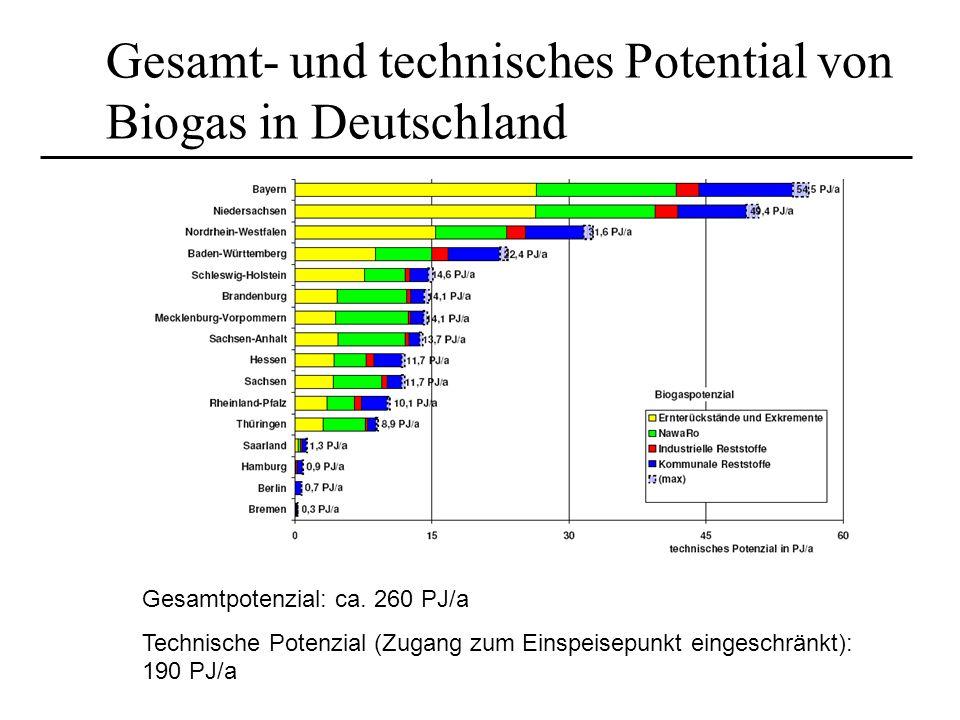 Gesamt- und technisches Potential von Biogas in Deutschland