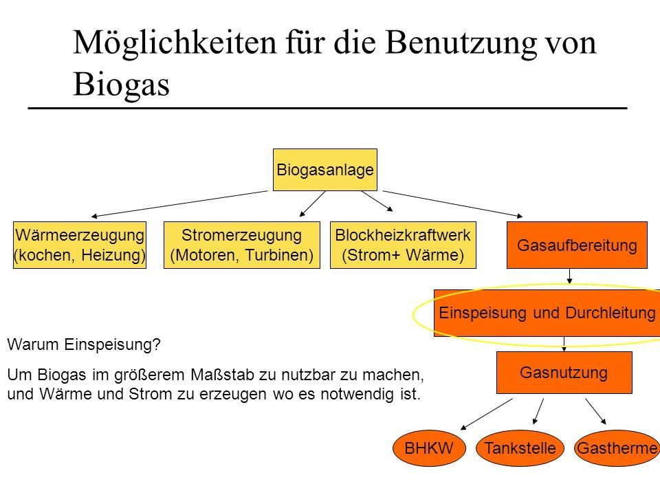 Möglichkeiten für die Benutzung von Biogas