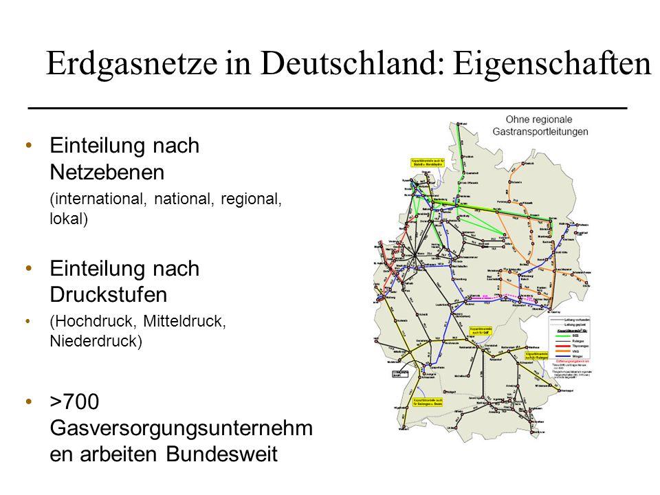 Erdgasnetze in Deutschland: Eigenschaften