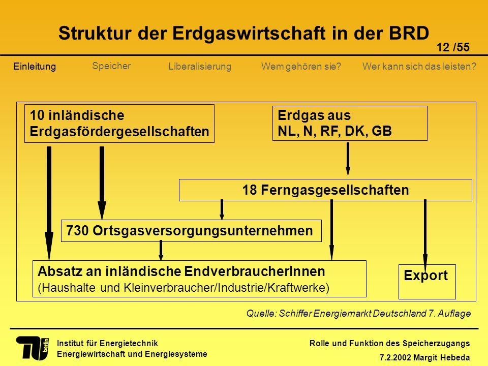 Struktur der Erdgaswirtschaft in der BRD