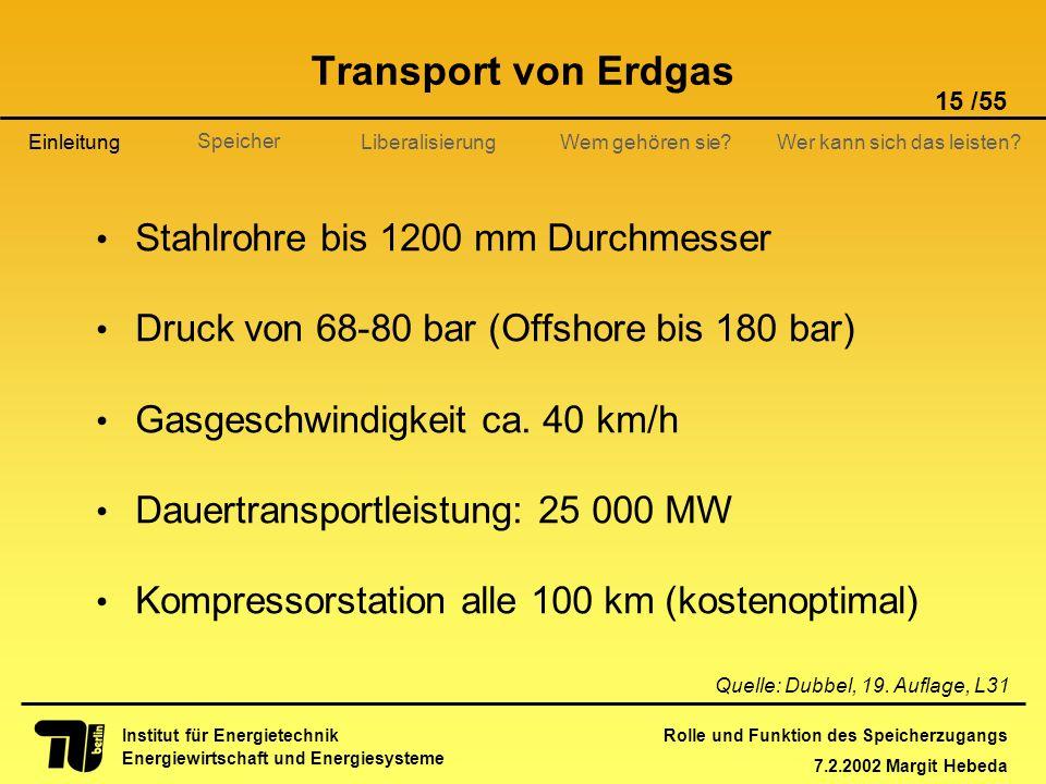 Transport von Erdgas Stahlrohre bis 1200 mm Durchmesser