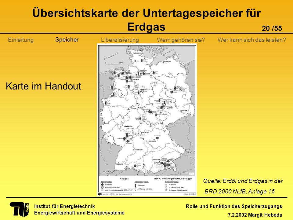 Übersichtskarte der Untertagespeicher für Erdgas