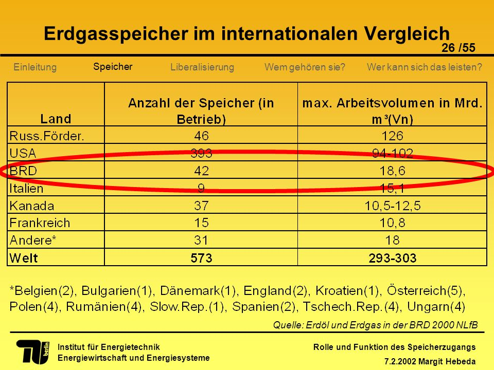 Erdgasspeicher im internationalen Vergleich
