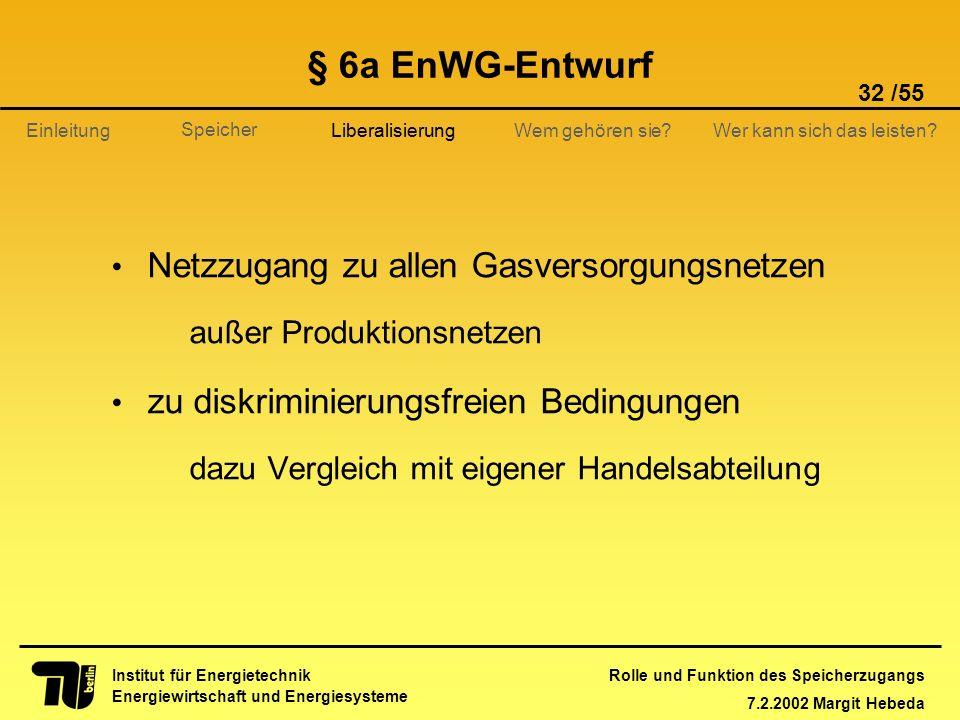 § 6a EnWG-Entwurf Netzzugang zu allen Gasversorgungsnetzen