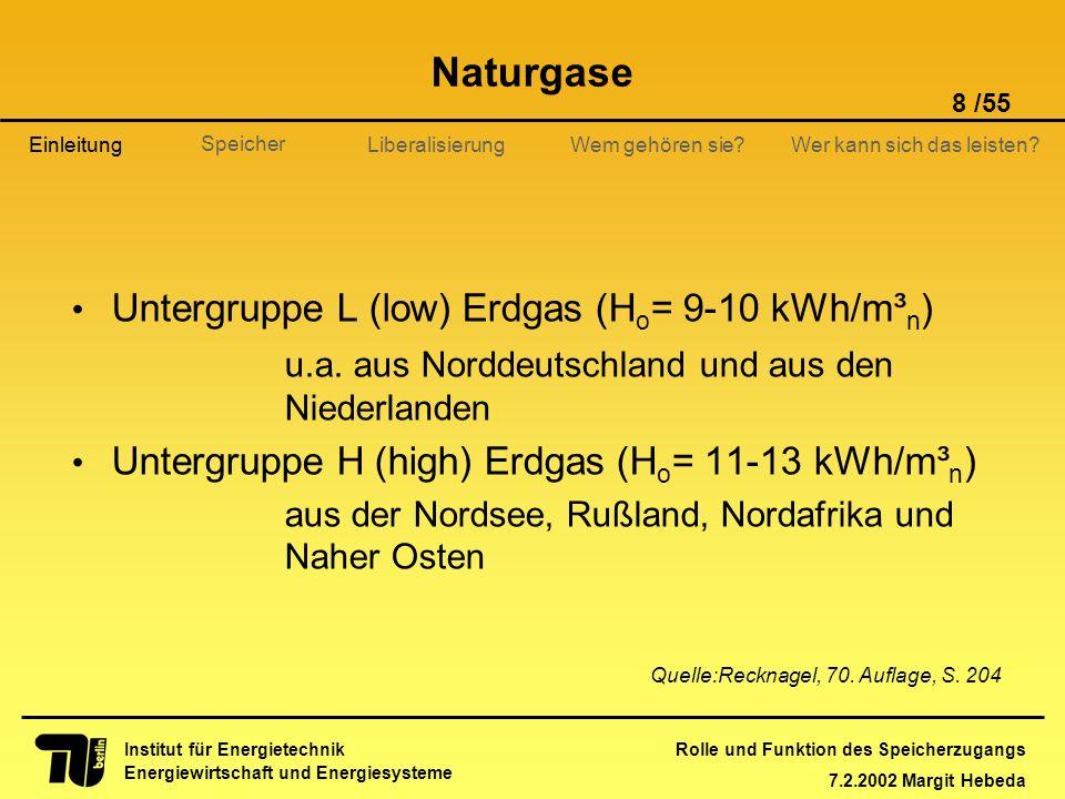 Naturgase Untergruppe L (low) Erdgas (Ho= 9-10 kWh/m³n)