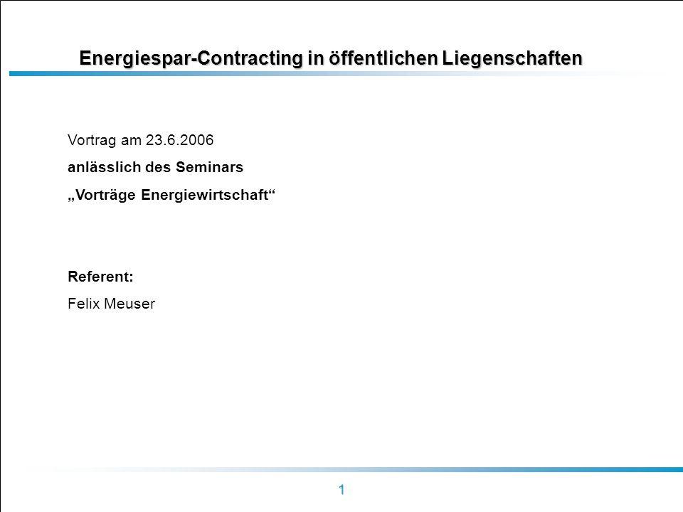 Energiespar-Contracting in öffentlichen Liegenschaften
