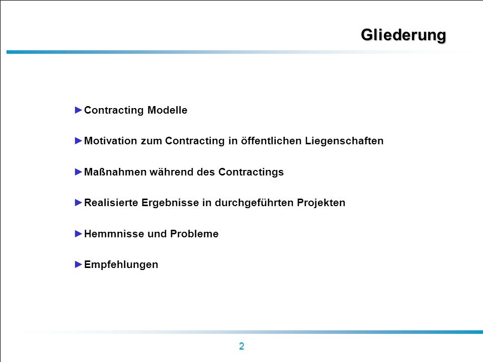 Gliederung Contracting Modelle