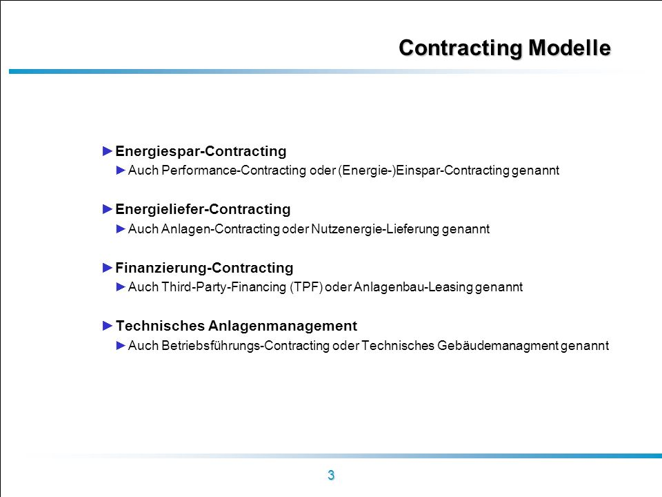 Contracting Modelle Energiespar-Contracting Energieliefer-Contracting