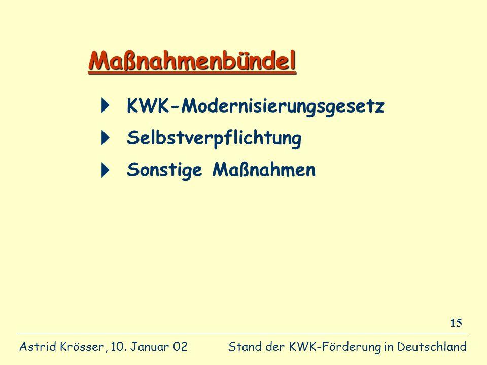 Maßnahmenbündel KWK-Modernisierungsgesetz Selbstverpflichtung