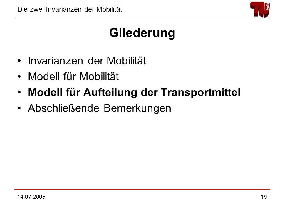 Gliederung Invarianzen der Mobilität Modell für Mobilität