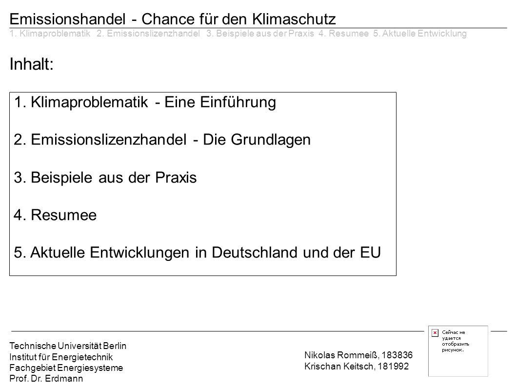 Inhalt: Emissionshandel - Chance für den Klimaschutz