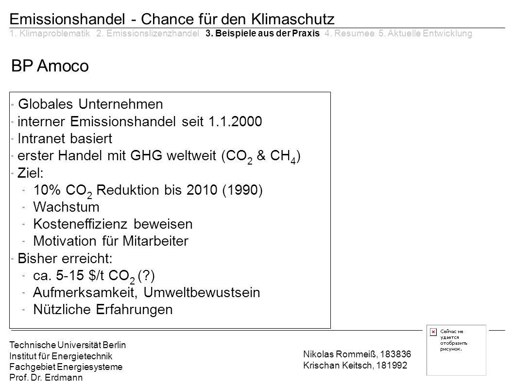 BP Amoco Emissionshandel - Chance für den Klimaschutz