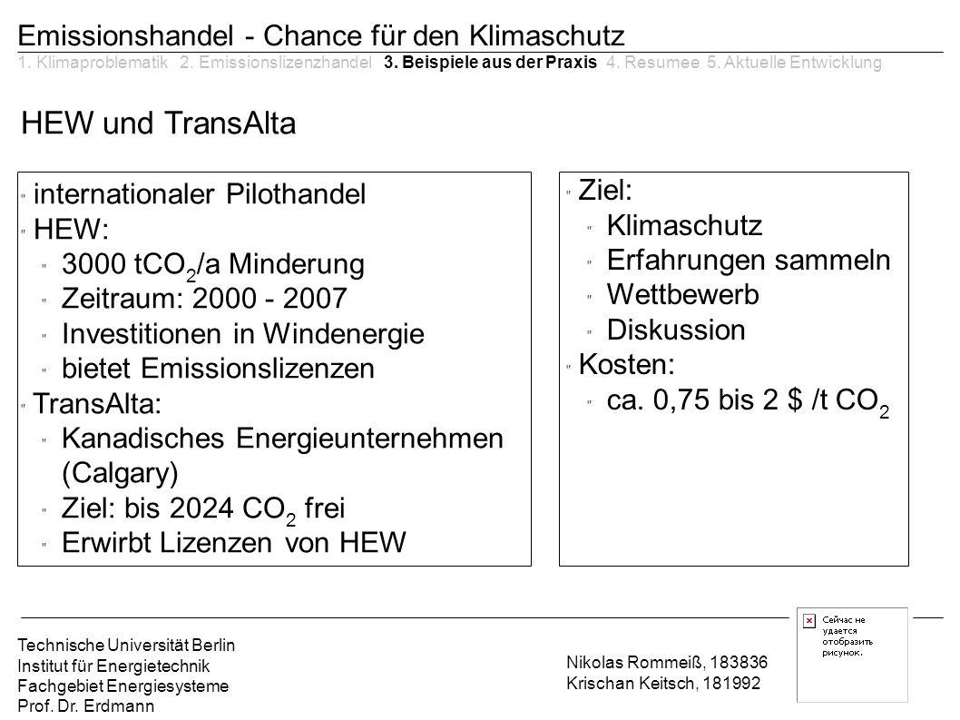 HEW und TransAlta Emissionshandel - Chance für den Klimaschutz