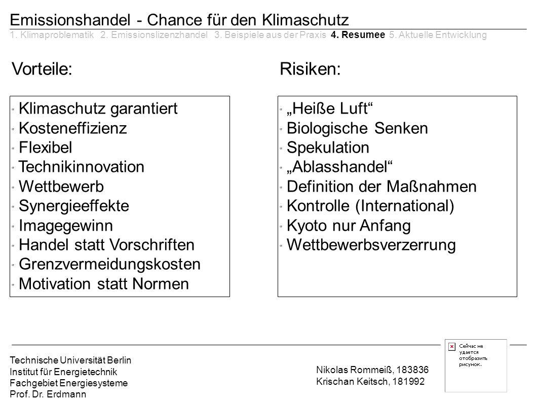 Vorteile: Risiken: Emissionshandel - Chance für den Klimaschutz