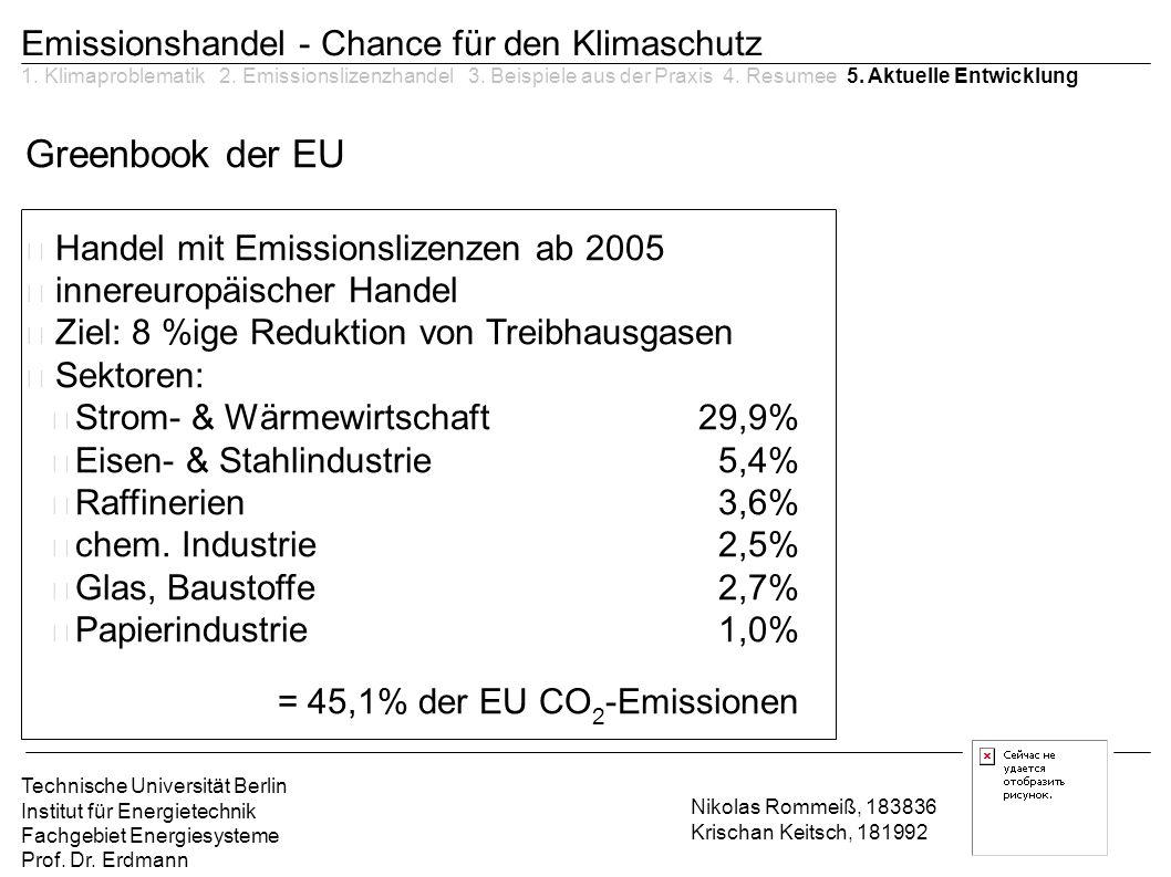 Greenbook der EU Emissionshandel - Chance für den Klimaschutz