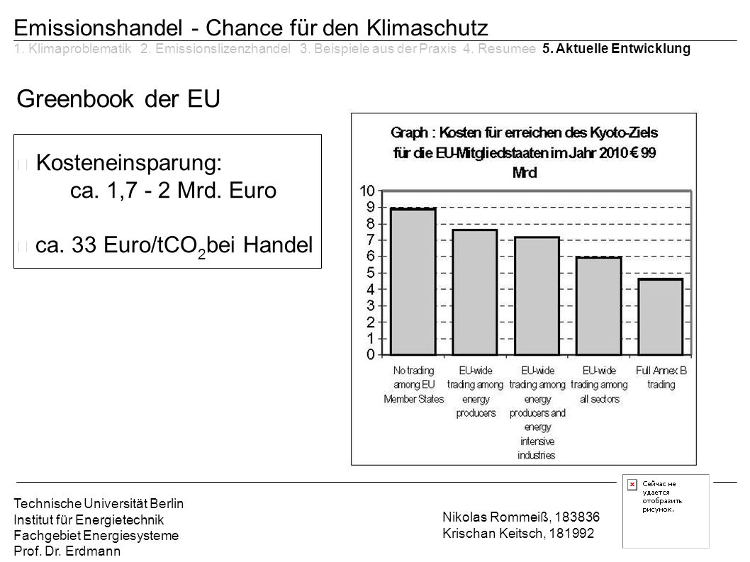 Kosteneinsparung: Greenbook der EU