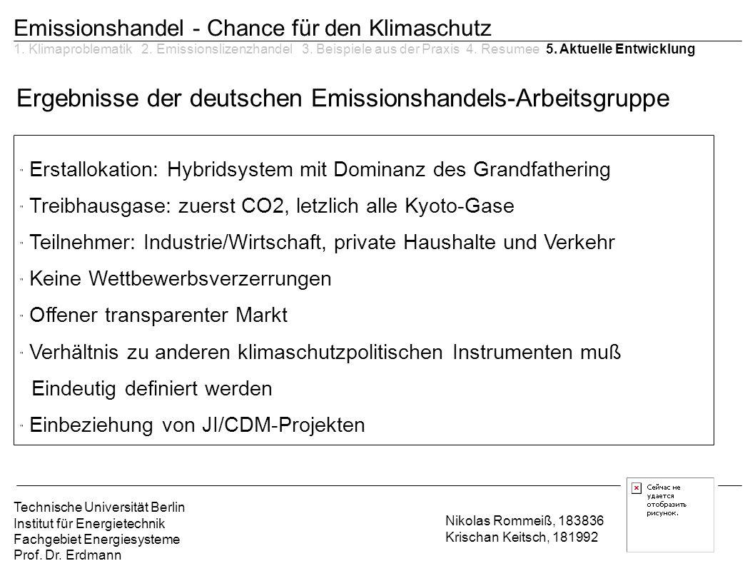 Ergebnisse der deutschen Emissionshandels-Arbeitsgruppe