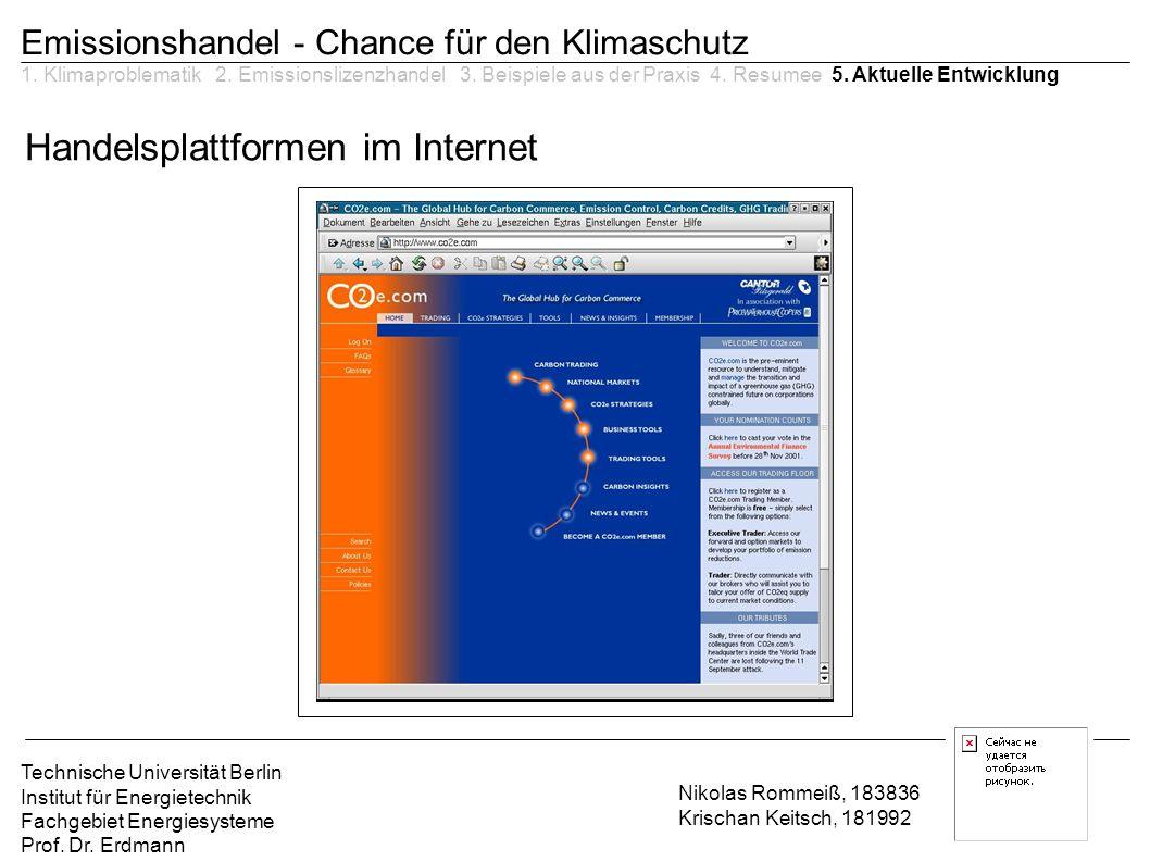 Handelsplattformen im Internet