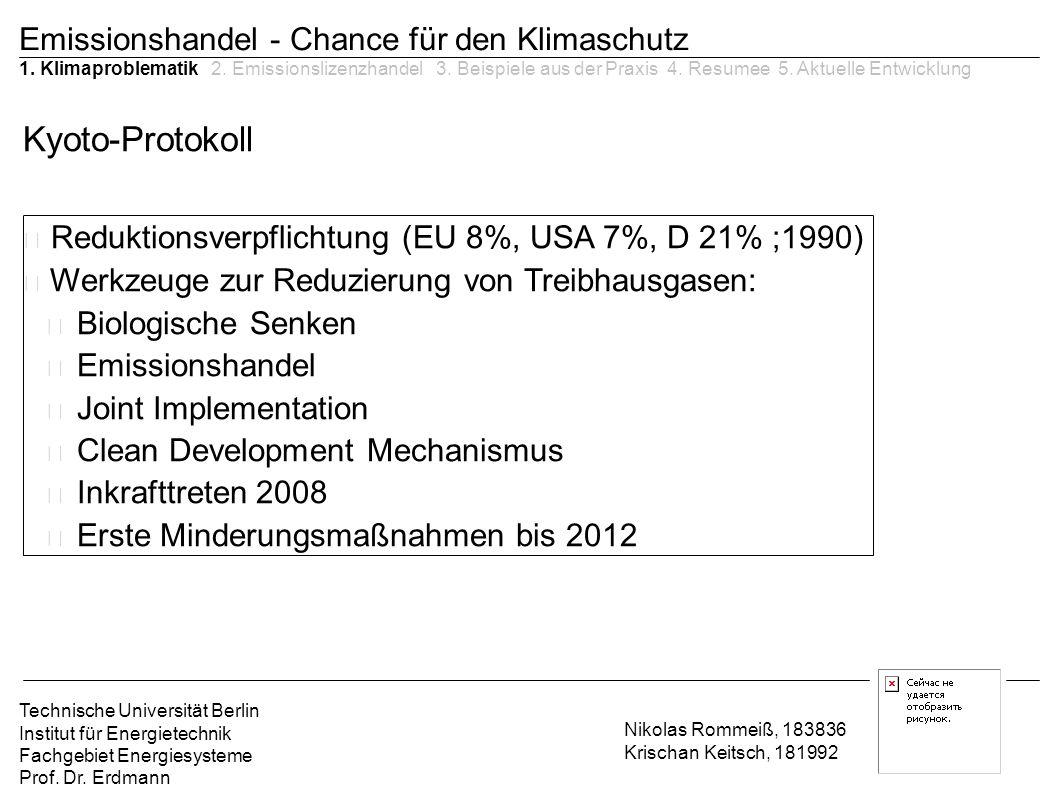 Reduktionsverpflichtung (EU 8%, USA 7%, D 21% ;1990)