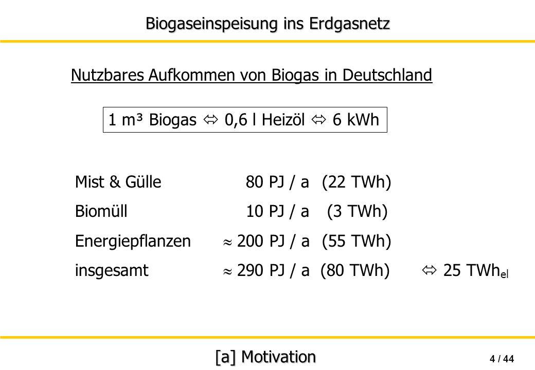 Nutzbares Aufkommen von Biogas in Deutschland