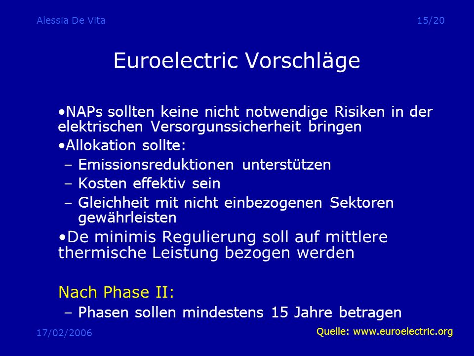 Euroelectric Vorschläge
