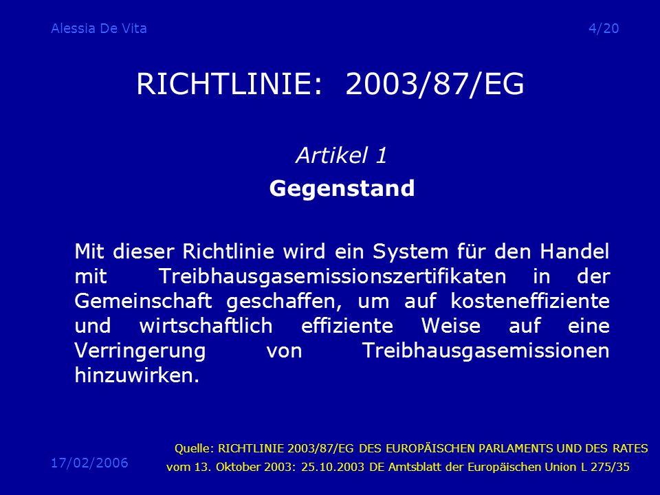 RICHTLINIE: 2003/87/EG Artikel 1 Gegenstand