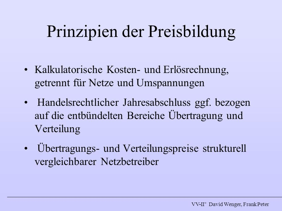Prinzipien der Preisbildung