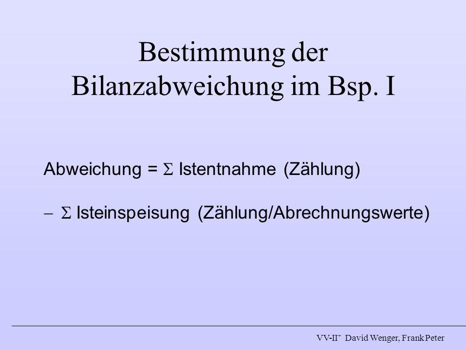 Bestimmung der Bilanzabweichung im Bsp. I