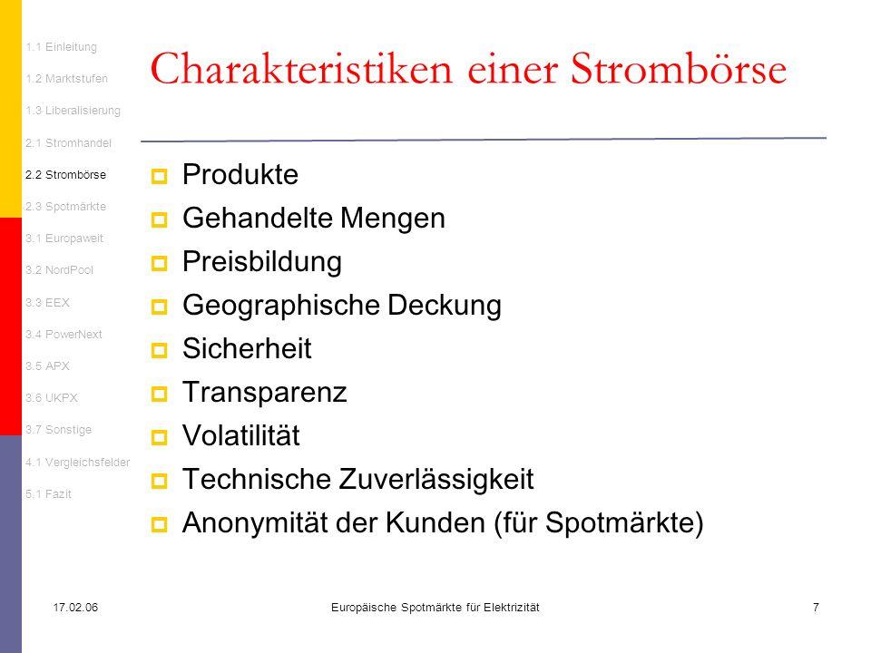 Charakteristiken einer Strombörse