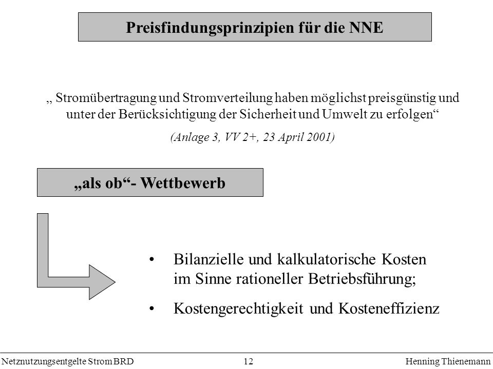 Preisfindungsprinzipien für die NNE