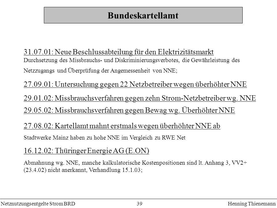 Bundeskartellamt 31.07.01: Neue Beschlussabteilung für den Elektrizitätsmarkt.