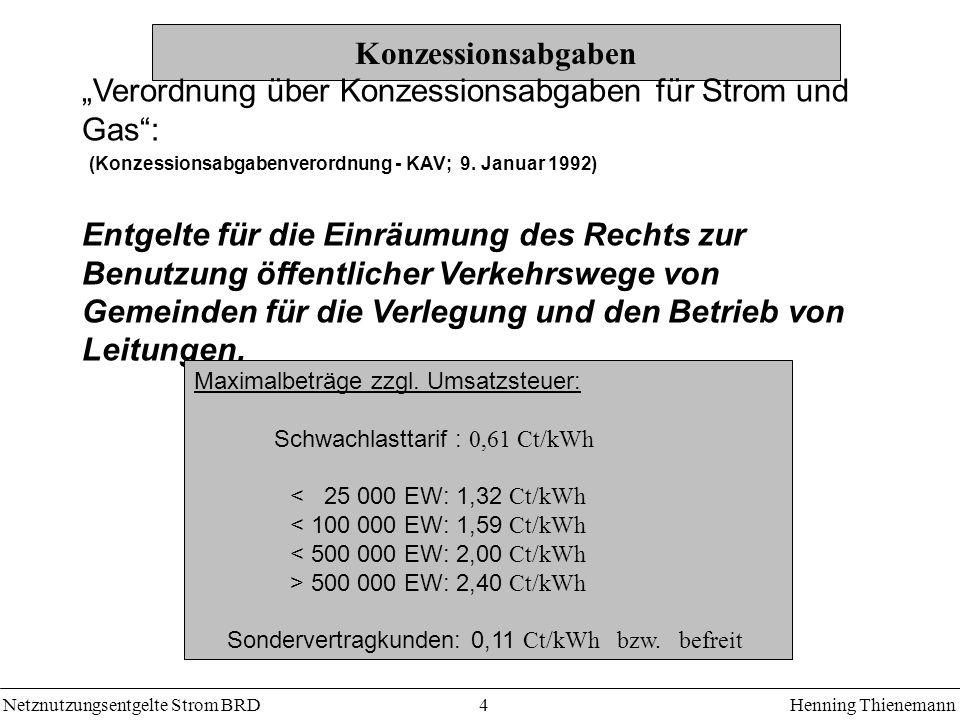 """""""Verordnung über Konzessionsabgaben für Strom und Gas :"""
