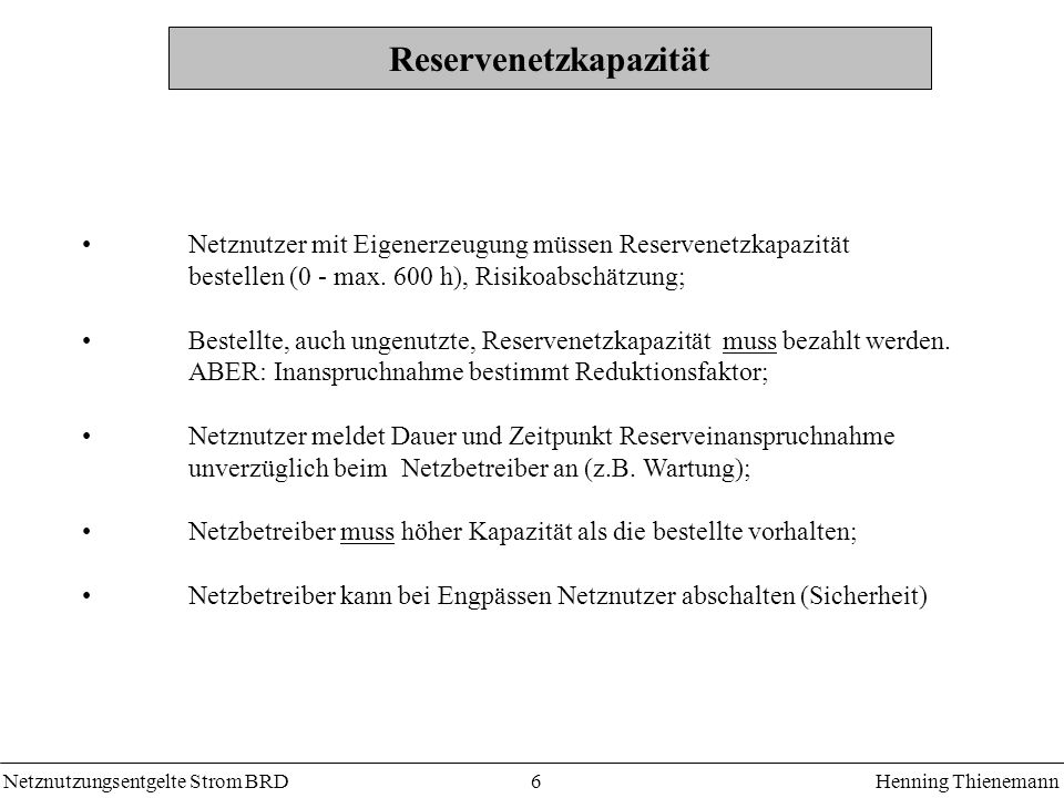 Reservenetzkapazität