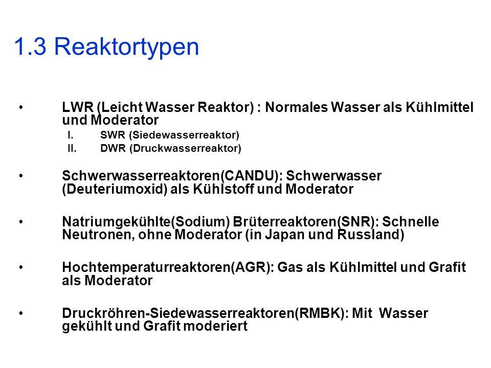 1.3 Reaktortypen LWR (Leicht Wasser Reaktor) : Normales Wasser als Kühlmittel und Moderator. SWR (Siedewasserreaktor)
