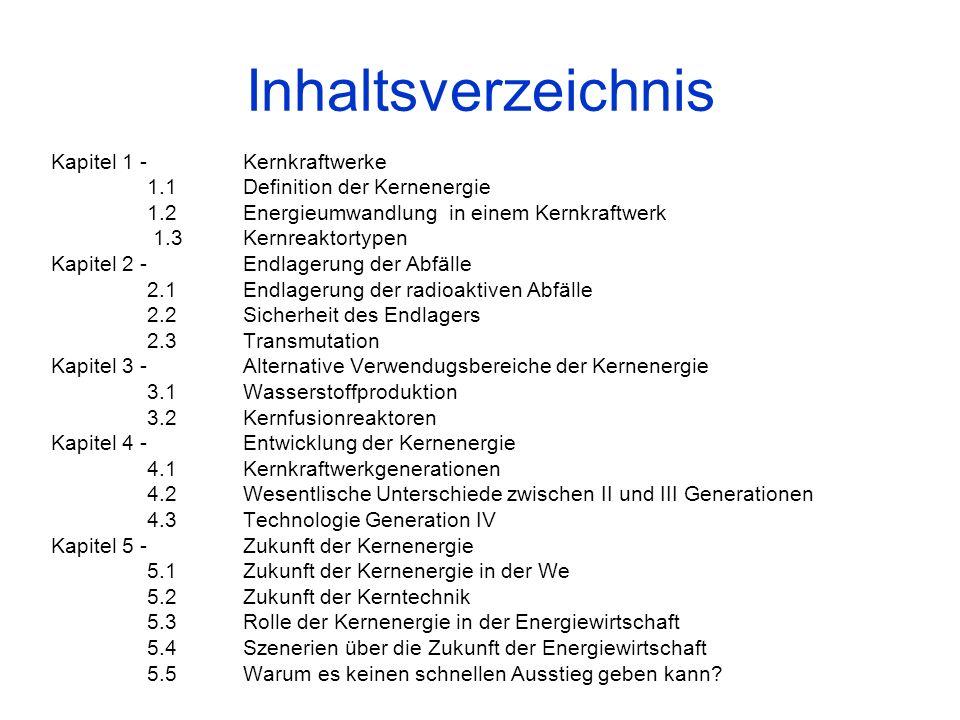 Inhaltsverzeichnis Kapitel 1 - Kernkraftwerke