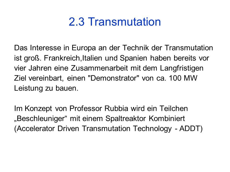 2.3 Transmutation Das Interesse in Europa an der Technik der Transmutation. ist groß. Frankreich,Italien und Spanien haben bereits vor.