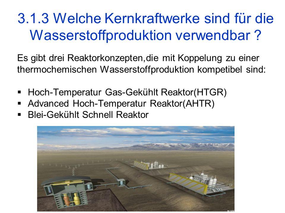 3.1.3 Welche Kernkraftwerke sind für die Wasserstoffproduktion verwendbar