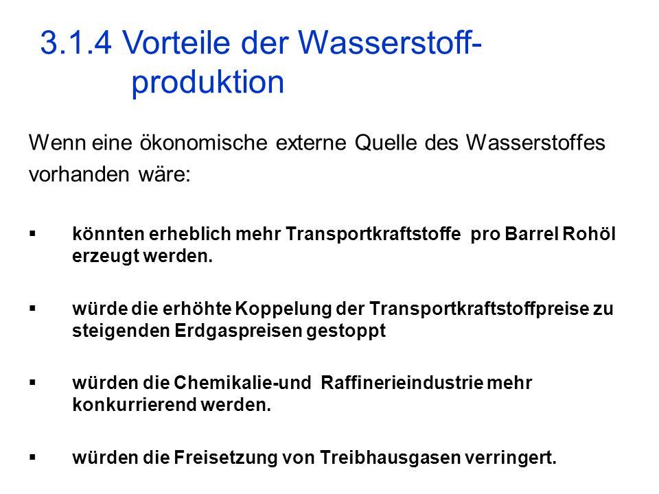 3.1.4 Vorteile der Wasserstoff- produktion