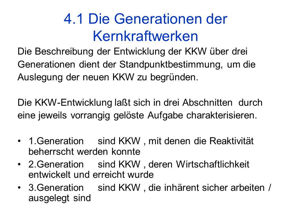 4.1 Die Generationen der Kernkraftwerken