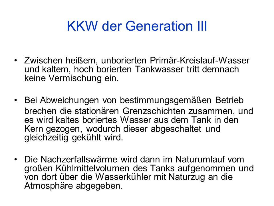KKW der Generation III
