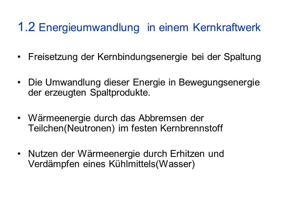 1.2 Energieumwandlung in einem Kernkraftwerk
