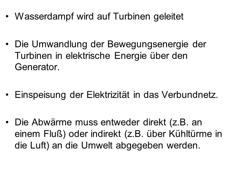 Wasserdampf wird auf Turbinen geleitet
