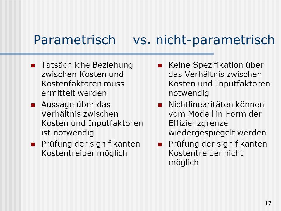 Parametrisch vs. nicht-parametrisch