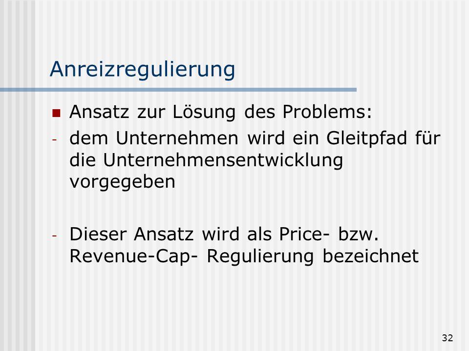 Anreizregulierung Ansatz zur Lösung des Problems: