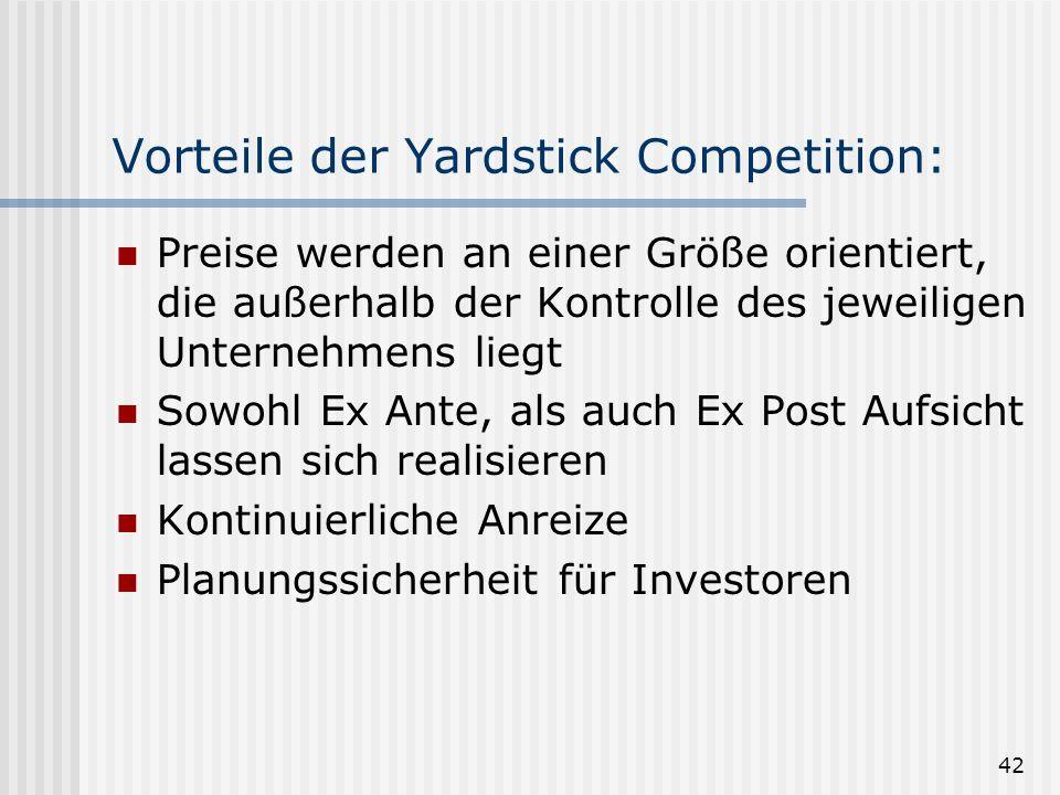 Vorteile der Yardstick Competition: