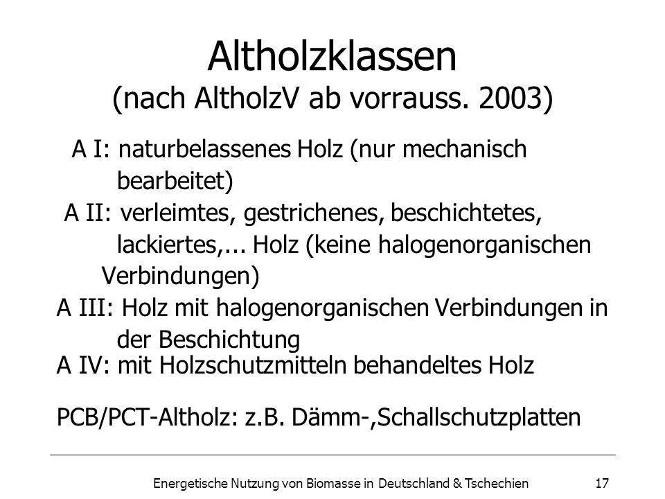 Altholzklassen (nach AltholzV ab vorrauss. 2003)